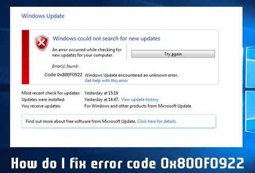 How do I fix error code 0x800F0922