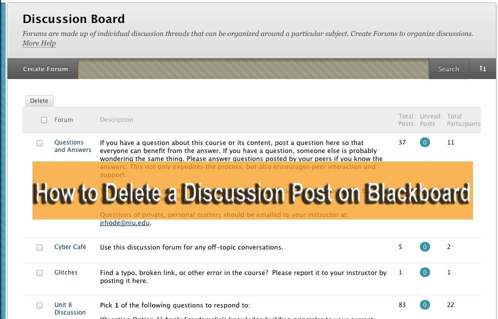 How to Delete a Discussion Post on Blackboard
