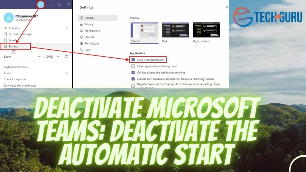 Deactivate Microsoft Teams Deactivate the automatic start