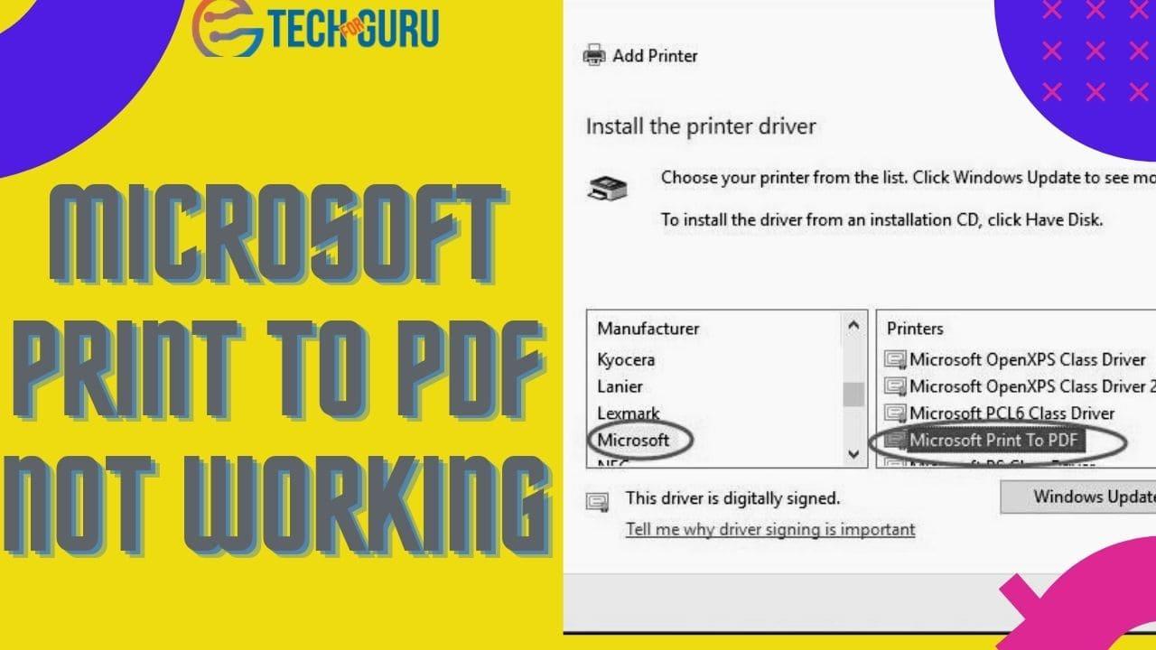 Microsoft Print To PDF Not Working