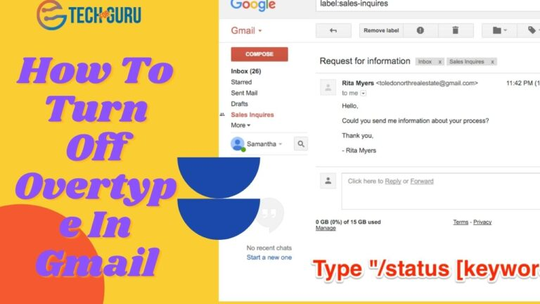 How To Turn Off Overtype In Gmail