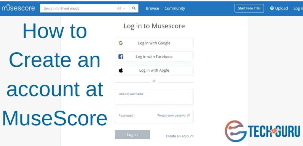 Create an account at MuseScore