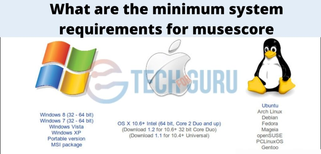What are the minimum system requirements for musescore