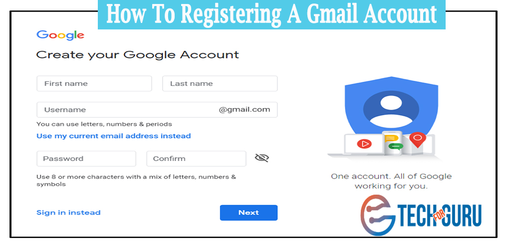Registering a Gmail Account